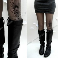 grey sexy MINI and BOOTS peacock FEATHER tattoo thigh high by post