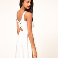 ASOS Skater Dress With Cross Back Detail at asos.com