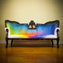 Splash Dyed Sofa - Painted Victorian Couch - ONE of a KIND Avant Garde Artistic Rainbow Upholstered Masterpiece