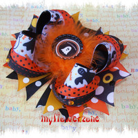 Halloween Hair Bows - Ghost Hair Bows - Stacked Hair Bows - Halloween Hairbows - Bottle Cap Feathers Black Orange and Yellow Hair Bows