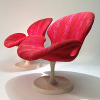 Pr-Vintage Swivel Club Chairs-Attributed To Arne Jacobsen Swan Or Pierre Paulin
