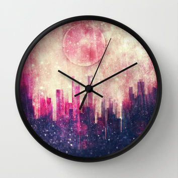 Mysterious city Wall Clock by SensualPatterns