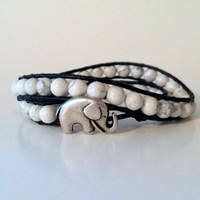 Elephant Leather Double Wrap Bracelet - Good Luck Elephant Button -White Howlite