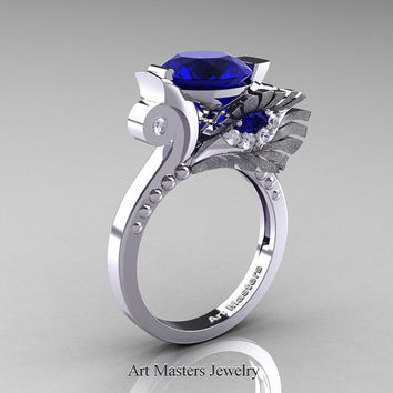High Fashion Nature Inspired 14K White Gold 3.0 Ct Blue Sapphire Diamond Marquise Eye Engagement Ring R359S-14KWGDBS
