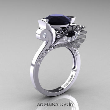 High Fashion Nature Inspired 14K White Gold 3.0 Ct Black and White Diamond Marquise Eye Engagement Ring R359S-14KWGDBD