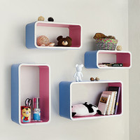 Orchid & Skyblue Rectangle Leather Wall Shelf (TRI-WS001-REC)