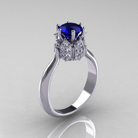 14K White Gold Diamond 1.0 Carat Blue Sapphire Tulip Solitaire Engagement Ring NN119-14KWGDBS