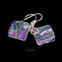 Clear Rainbow Iridescent Square Handmade Dichroic Glass Earrings