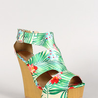 Qupid Kendall-18 Floral Ankle Cut Out Peep Toe Wedge