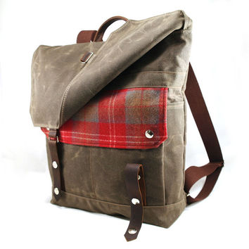 READY TO SHIP Lumberjack Plaid Wool Waxed Canvas Backpack