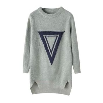 Long Section Knitwear/Sweater With Inverted Triangle Printing - Gray