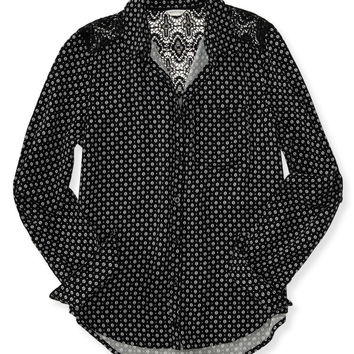 Aeropostale  Long Sleeve Mod Dot Lace Yoke Woven Shirt