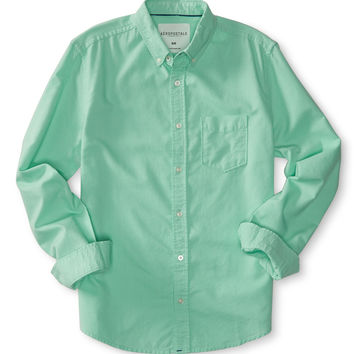 Aeropostale  Long Sleeve Solid Oxford Woven Shirt