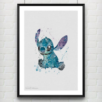 Stitch Poster, Lilo and Stitch Disney Watercolor Art Print, Kids Decor, Wall Art, Home Decor, Gift, Not Framed, Buy 2 Get 1 Free! [No. 80]