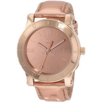 Juicy Couture Women's 1900837 HRH Rose Gold Mirror-Metallic Leather Strap Watch - designer shoes, handbags, jewelry, watches, and fashion accessories | endless.com