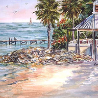 Little Harbor Resort, ACEO, Ruskin  Florida Beach  print  seascape 292  landscape  ocean sea
