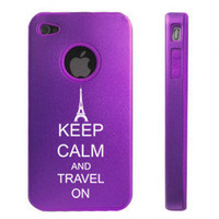 Purple Apple iPhone 4 4S 4G Aluminum hard case D4247 Keep Calm and Travel On