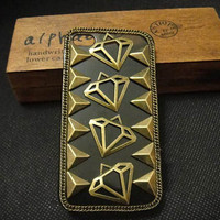 Studded Punk iPhone case, Brass Triangle and diamond Rivet Superman Theme Unique iPhone 4 case, iPhone 4 case, Hard iPhone Case/Cover