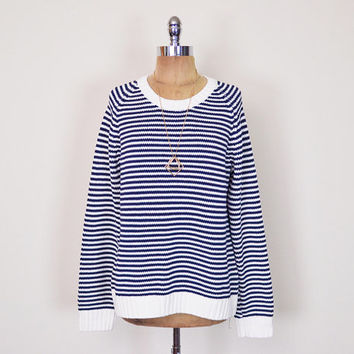 Vintage 90s Navy Blue & White Stripe Sweater Jumper Nautical Sweater Sailor Sweater Slouchy Oversize Sweater 90s Grunge Sweater Women S M L