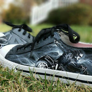 Sons Of Anarchy Inspired Hand Painted Canvas Lace Up Shoes