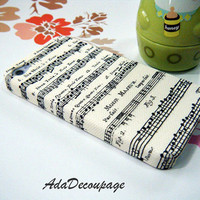 Music Sheet - iPhone 4 Case , iPhone 4s Case , iPhone 3g , 3gs , Samsung galaxy S2 , Case Handmade