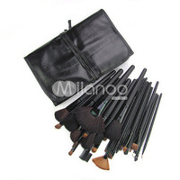 32 Pieces Black Animal Hair Makeup Brushes With Leather Case -  Milanoo.com