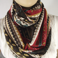 Fall Infinity Scarf...Cotton Jersey....Knit Scarf....Circle Scarf....Brown Red Mustard White Blue Cocoa....So Soft