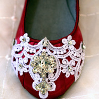 Wedding Flats, Red shoes...Size 7.5 Ready To Ship...The Merida....SALE