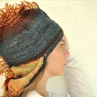 Dragon Hat Adult Hat Hand Knit Blue Brown Orange Yellow Unisex Winter Accessories Winter Fashion Christmas Halloween