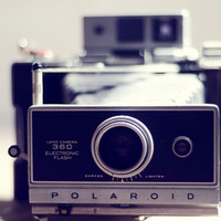 Vintage camera decor- hipster, retro, polaroid, dreamy camera photo,  teal, whimsical, geekery, 8x10 print, fine art photography, still life