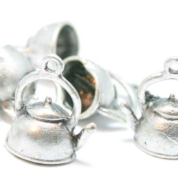 4 Piece Matte Silver Teapot Charms, Matte Silver Vintage Kettle Pendant, Jewelry Supply, Jewelry Drops, Jewelry Findings