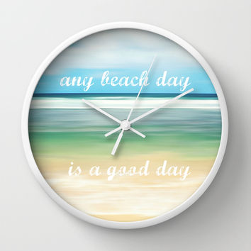 any beach day is a good day Wall Clock by Sylvia Cook Photography