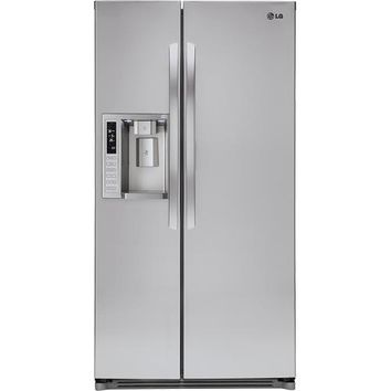 LG - 26.6 Cu. Ft. Side-by-Side Refrigerator with Thru-the-Door Ice and Water - Stainless-Steel