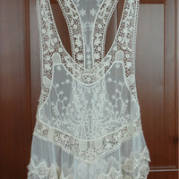 Lace Swimsuit Cover up, Lace Top - Gorgeous Summer Cover