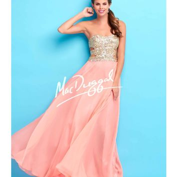 Mac Duggal Flash  Side Cutouts Strapless Coral Gown Prom 2015
