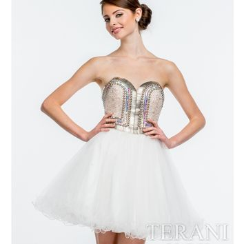 Terani Ivory Sequin Sweetheart Party Dress Prom 2015