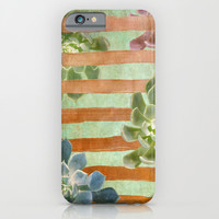 Copper Stripes and Succulents iPhone & iPod Case by Lisa Argyropoulos