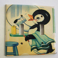 retro penguin switch plate vintage 1950's rockabilly bathroom animal kitsch