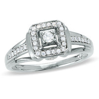 1/7 CT. T.W. Diamond Square Framed Promise Ring in Sterling Silver - View All Rings - Zales