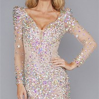 Sherri Hill Nude Multi Color Crystal Stones Dress
