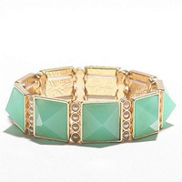 Mint And Pearl Pyramid Bracelet