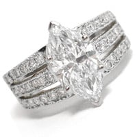 Engagement Ring - 3 Row Split Band for Marquise Cut Diamond Engagement Ring 0.40 tcw. In 14K White Gold - ES517MQWG