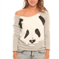 Panda Print Long Sleeve Grey Sweater with Cutout Back