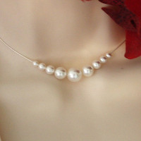 Bridal pearl necklace Sterling Silver by untie on Etsy