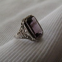 Art Deco Amethyst White Gold Ring by RESales on Etsy