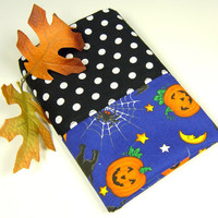 Halloween Travel Pillow Case Kid Children Toddler Car Bedding Cobweb Pumpkin Blue Black White Orange Dots - Taie d'oreiller - Ready to ship