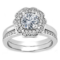 Engagement Ring - Round Diamond Flower Double Halo Engagement Ring and Matching Wedding Band in 14K White Gold - ES1064BS