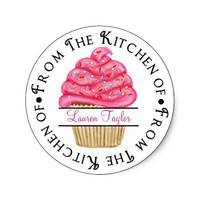 Personalized Cupcake Baking  Kitchen Stickers from Zazzle.com