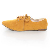 Qupid Salya 585 Mustard Yellow Suede Lace-Up Oxfords - $27.00