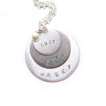 3 Personalized Necklace Hand Stamped Name Custom Pendant Swarovski Pearl charm gift for wedding birthday
